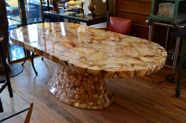20th Century Onyx Oval Dining Table By Mulleru0027s Of Mexico. For Sale