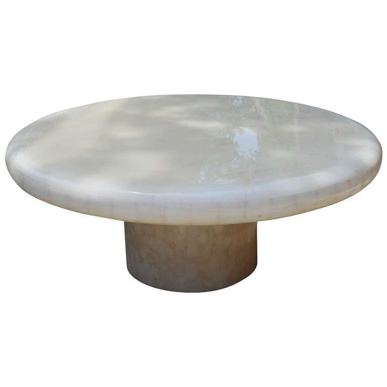 Round Pedestal Onyx Coffee Table At 1stdibs