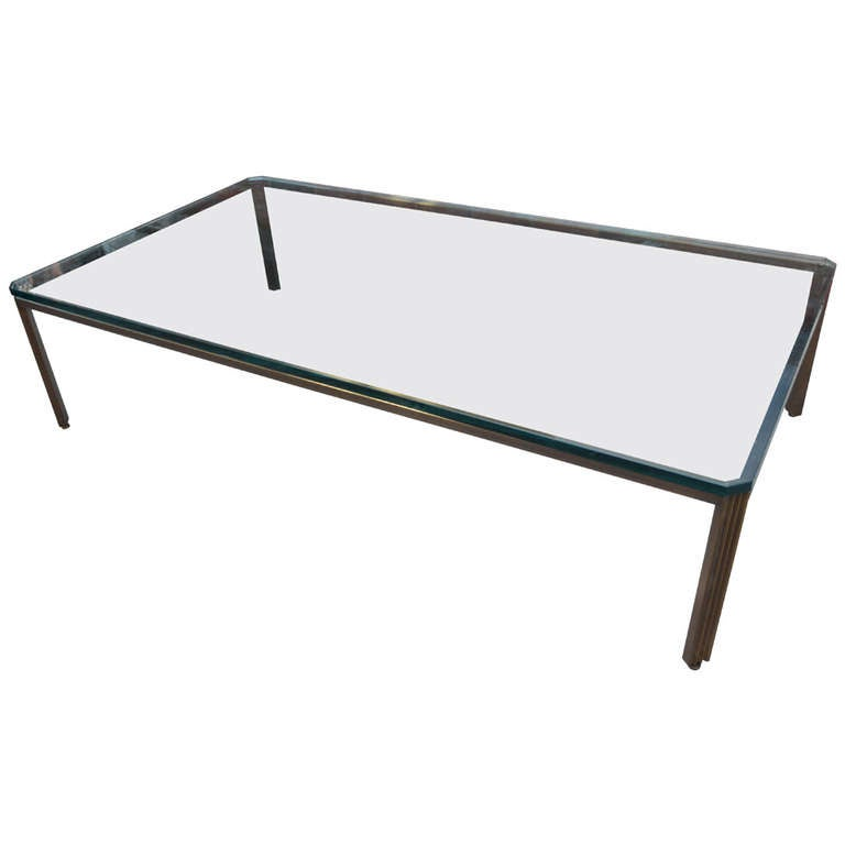Monumental Bronze And Glass Modern Coffee Table For Sale At 1stdibs