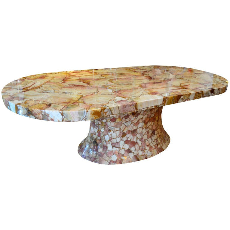 colossal mosaic onyx racetrack dining table at 1stdibs