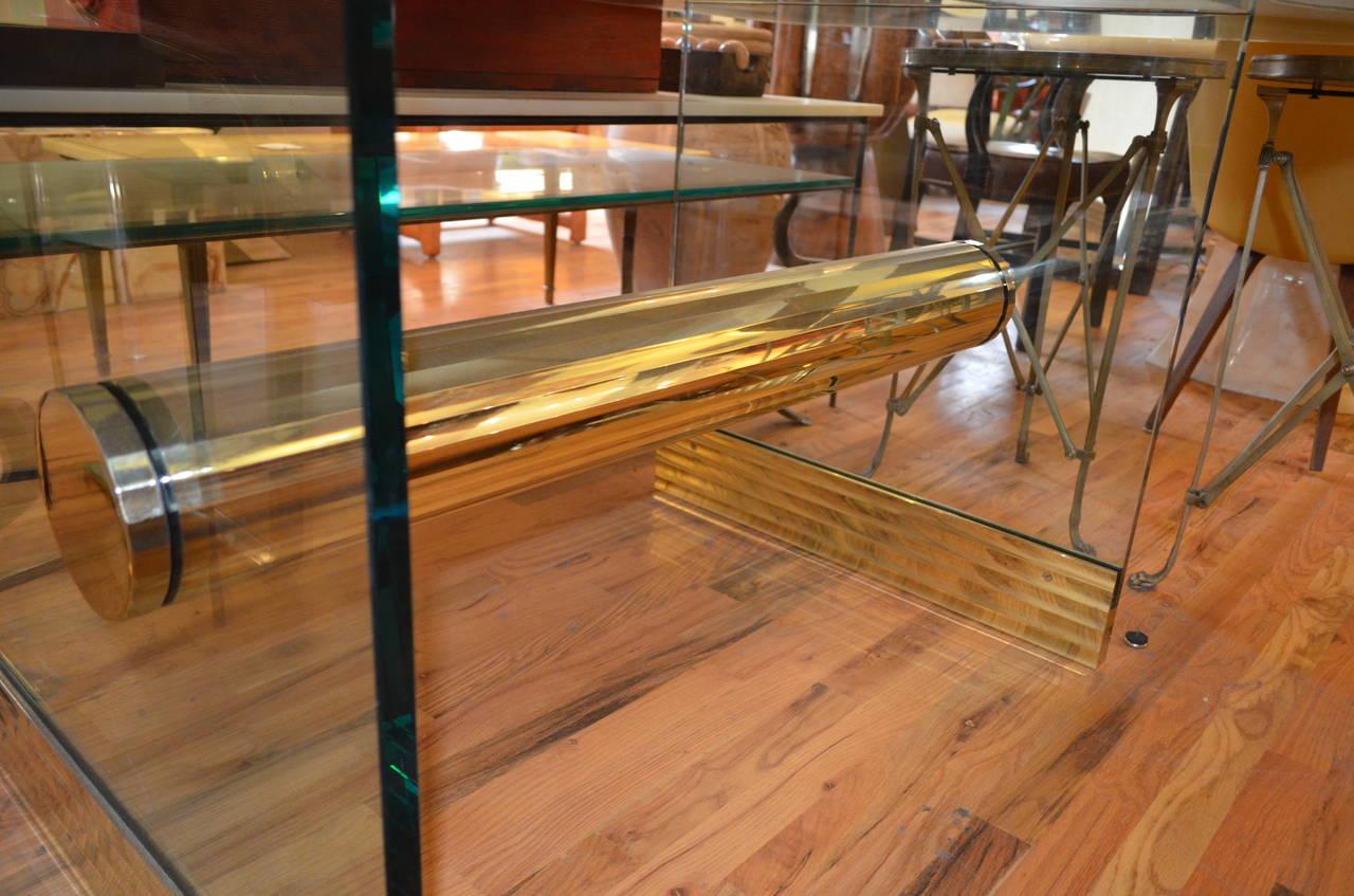 monumental long glass pace dining table or desk for sale. Black Bedroom Furniture Sets. Home Design Ideas