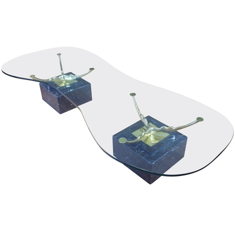 Italian Marble Brass and Glass Coffee Table For Sale