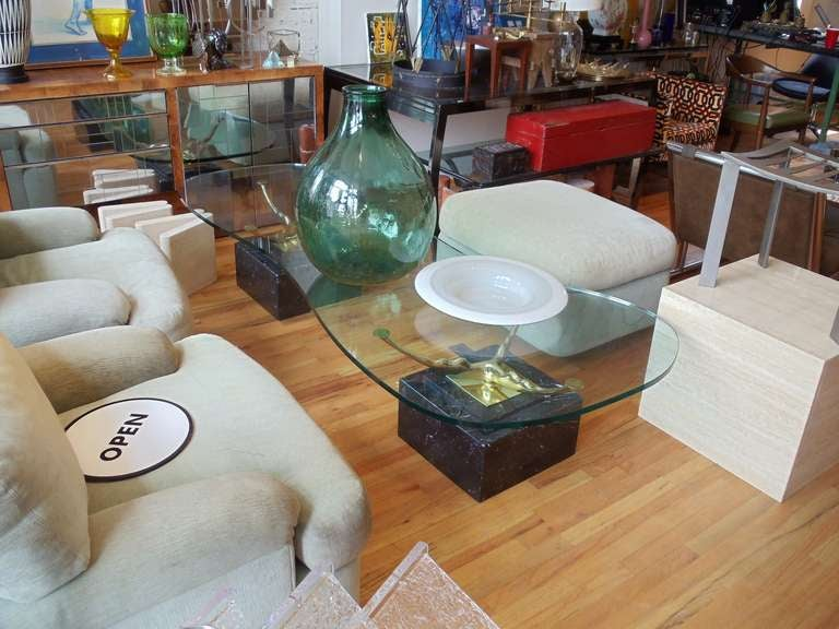 Mid-Century Modern Italian Marble Brass and Glass Coffee Table For Sale