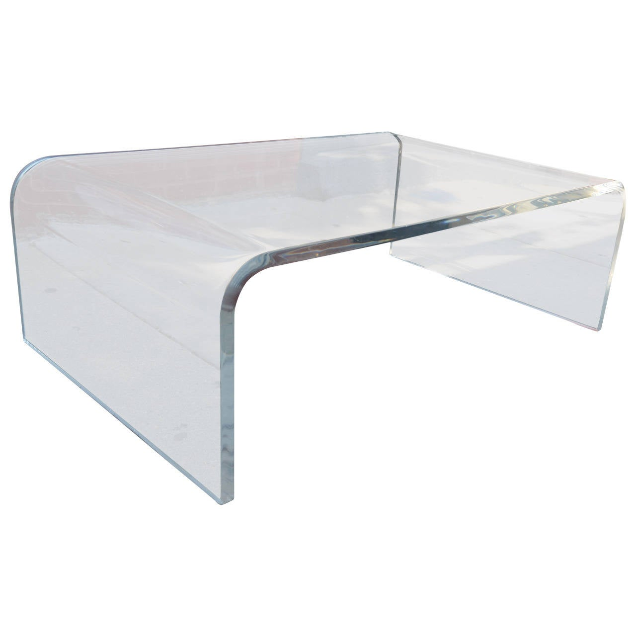 Lucite waterfall coffee table at 1stdibs for Used acrylic coffee table