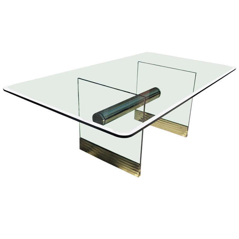Monumental Long Glass Pace Dining Table Or Desk At 1stdibs