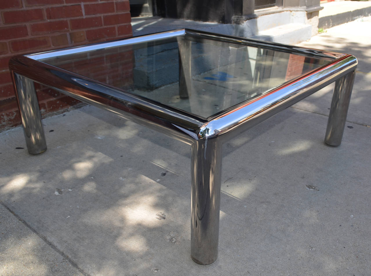 Large Scale Vintage Tubular Chrome Coffee Table At 1stdibs