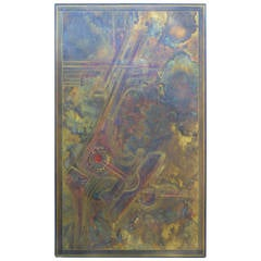 Monumental Bernhard Rohne Brass Acid Etched Wall Art
