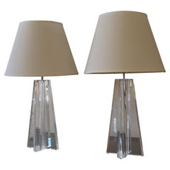 Lucite Les Prismatiques Pair of  Table Lamps