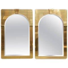 Pair of Brass Mastercraft Mirrors