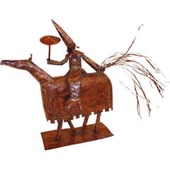 Copper Mid Century Sculpture of a Man on a Horse
