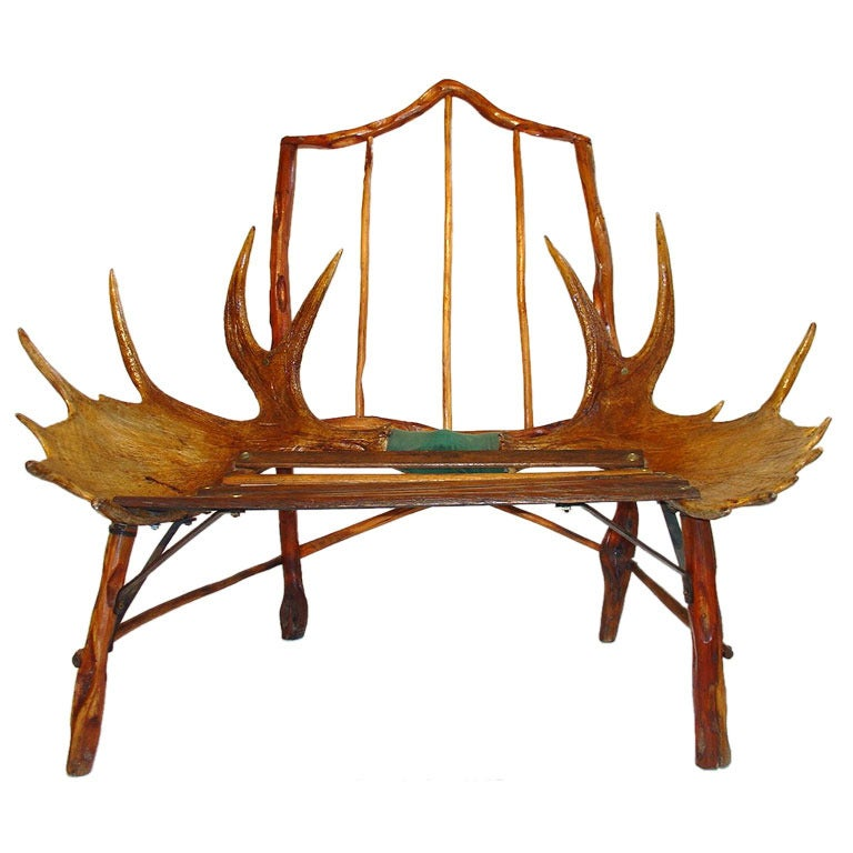 Rustic Canadian Craftsman Moose Antler Chair 1