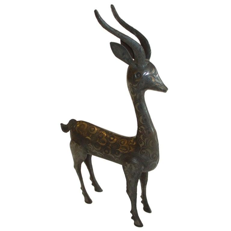 Indian Metal Deer Sculpture