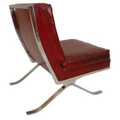 Mies van der Rohe Barcelona Style Chrome Lounge Chair