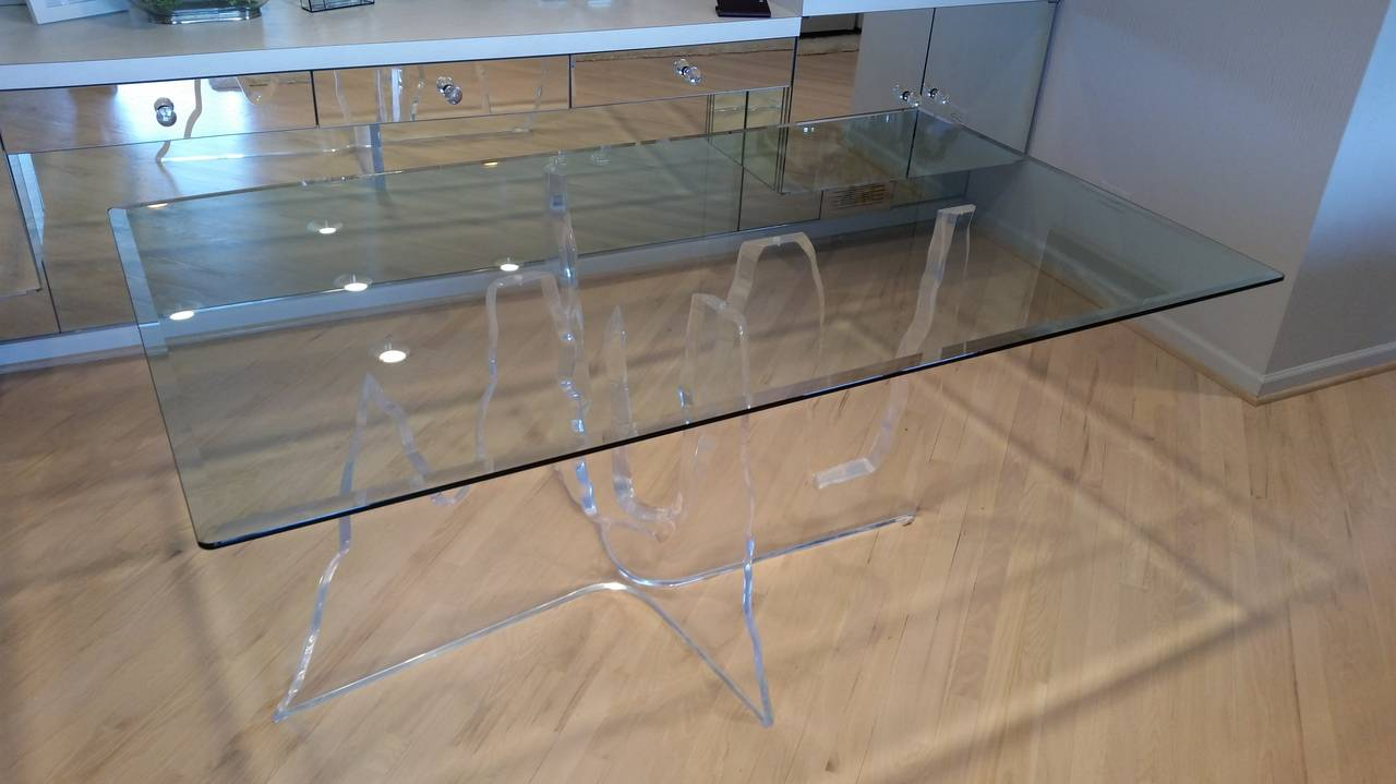 In frost lucite iceberg dining table at 1stdibs an exceptionally thick acrylic dining table by lion in frost mid century vintage sculptural dining dzzzfo