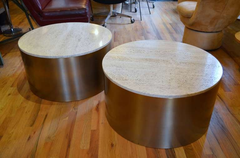 Pair Of Monumental Brueton Bronze And Travertine Drum Tables 3