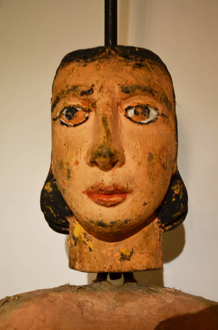 Wood Italian Articulated Rod Puppet Sculpture For Sale