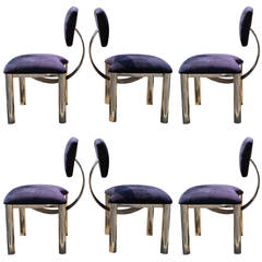 Set of Six Memphis Style Chrome Dining Chairs in style of  Ettore Sottsass