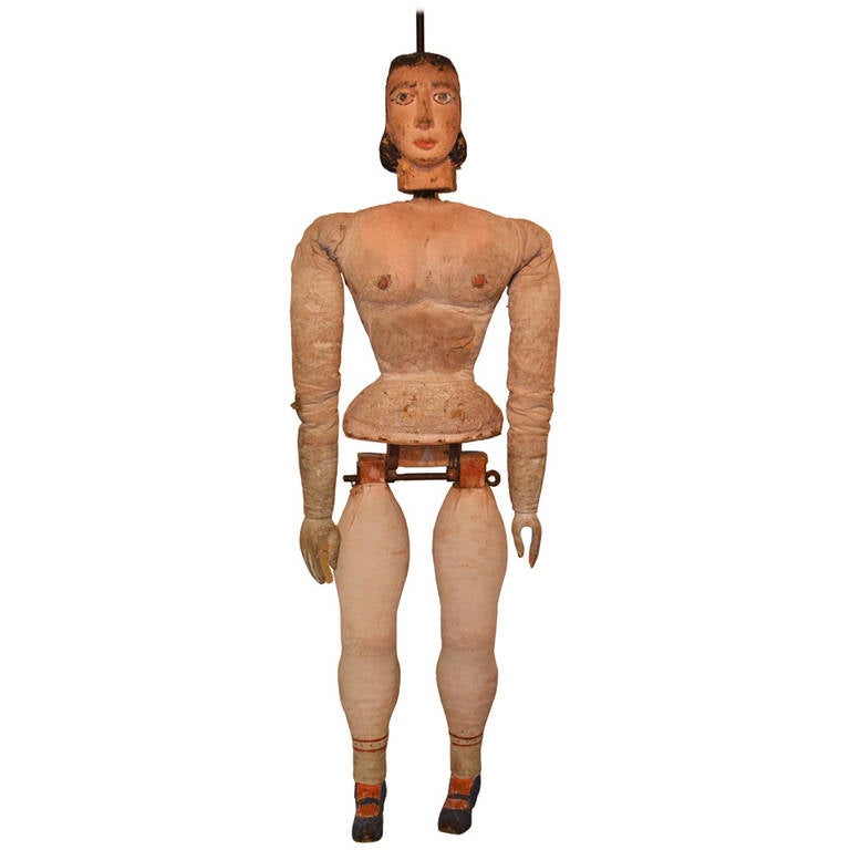 Italian Articulated Rod Puppet Sculpture For Sale