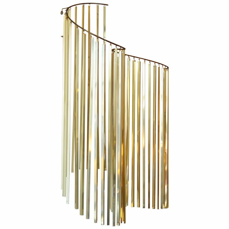 Curtis Jere Brass Kinetic Wave Wall Sculpture