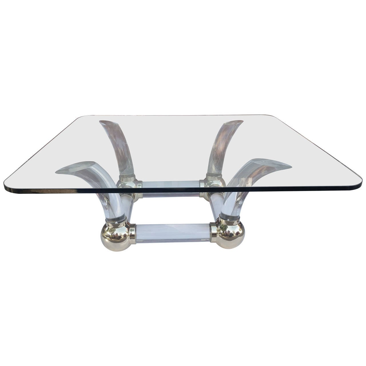 Lucite Sabre Leg and Brass Coffee Table