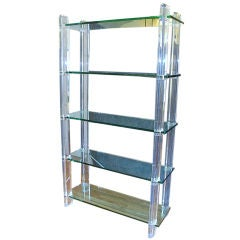 Lucite and Glass Etagere