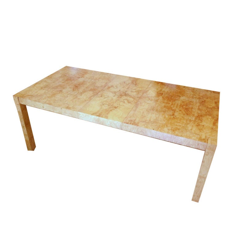 Burl Wood Parsons Dining Table At 1stdibs