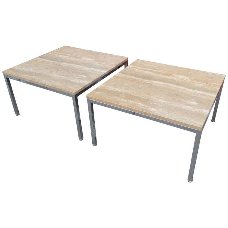 Custom Pair Of Travertine And Chrome Side Tables By Knoll International.  For Sale