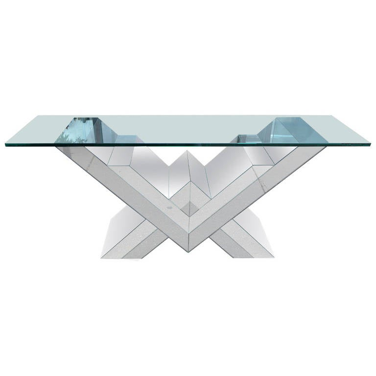 Pierre Cardin Style Smoked and Clear Mirrored Console Table