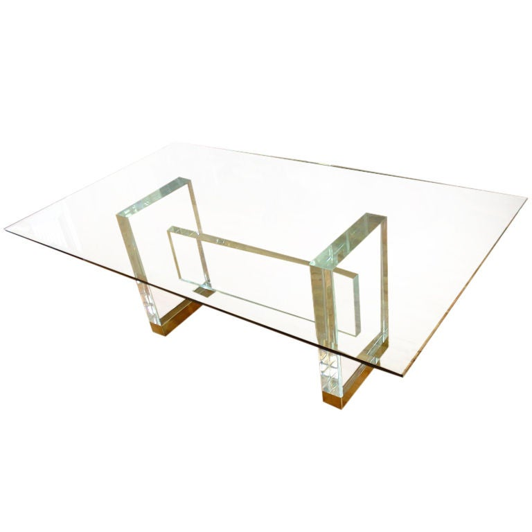 Gary Strutin Lucite Dining Table at 1stdibs