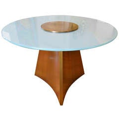 Exceptionally Large Bronze and Round Glass Center Table in Style of Mastercraft