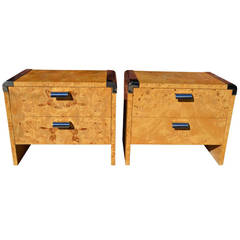Pair of Burl and Chrome Nightstands from the Pace Collection