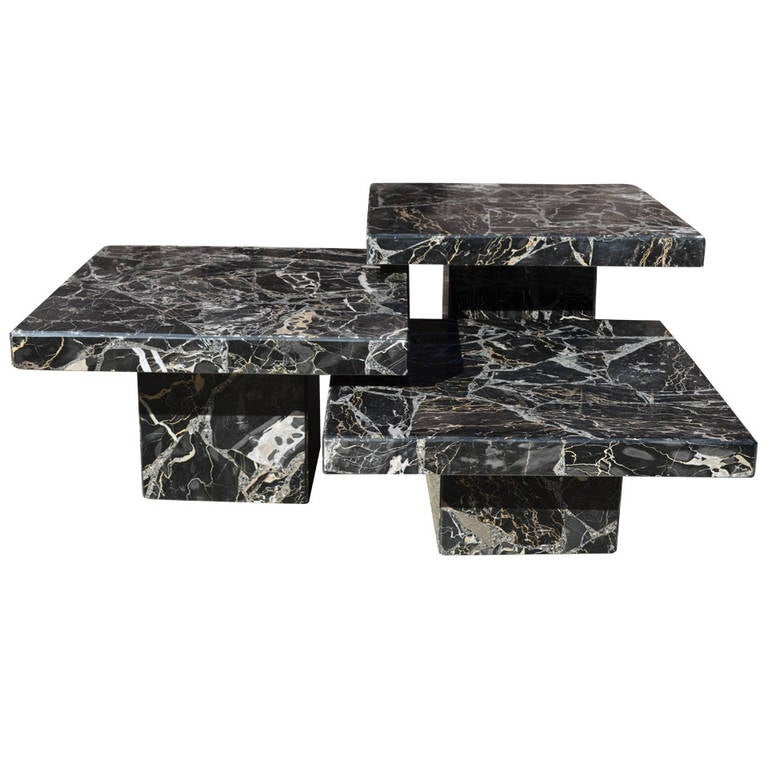 Set Of Three Black Italian Marble Pedestal Coffee Tables At 1stdibs