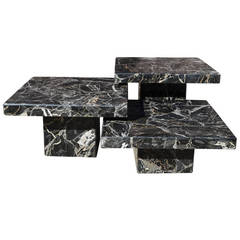Set of Three Black Italian Marble Pedestal Coffee Tables