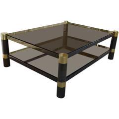 Signed Monumental Karl Springer Gunmetal and Brass Coffee Table