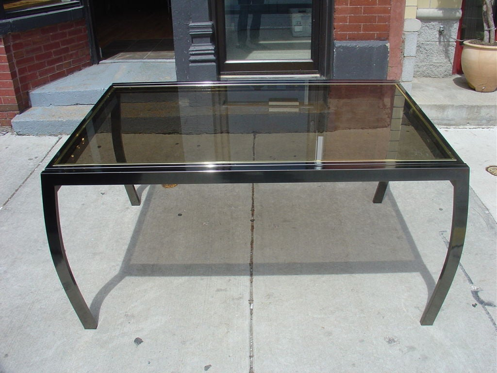 Design institute of america glass and gunmetal dining for Dining room tables 120 inches