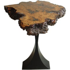 Burl Wood Side Table with Metal Base