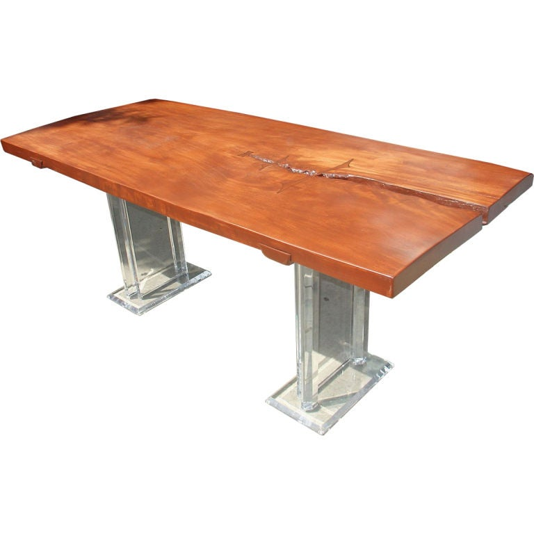 Wood And Lucite Dining Table At 1stdibs