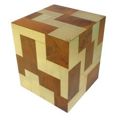 Signed Paul Evans Cityscape Cube Side Table
