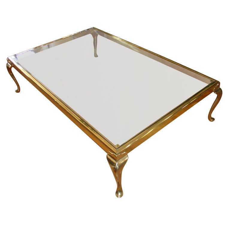 An Exceptionally Large Brass And Glass Coffee Table At 1stdibs