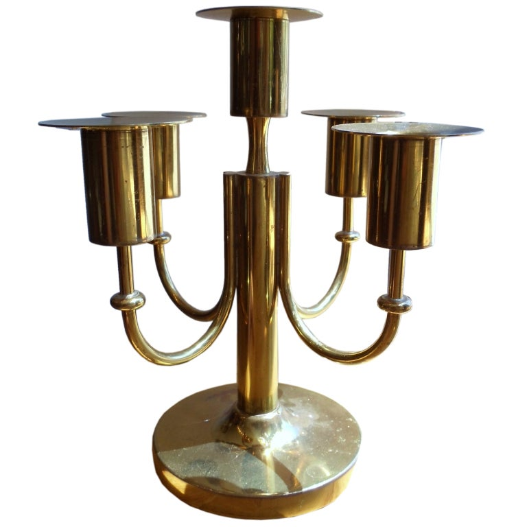 Tommi Parzinger Brass Candelabrum For Sale