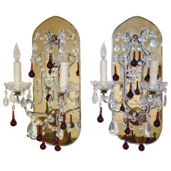 Pair of French Mirrored Crystal Sconces with Mirrored Backplate