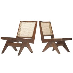 Pair of lounge chairs from Chandigarh, India by Pierre Jeanneret