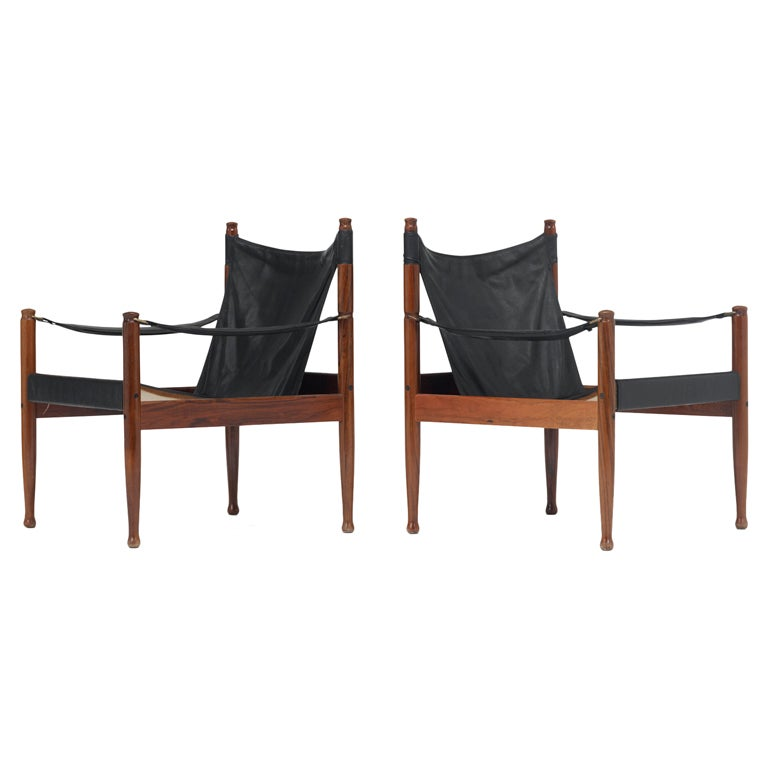 Safari chairs, pair by Erik Wørts 1
