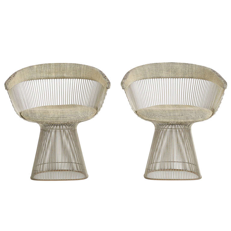 Dining Chairs Pair By Warren Platner For Knoll At 1stdibs