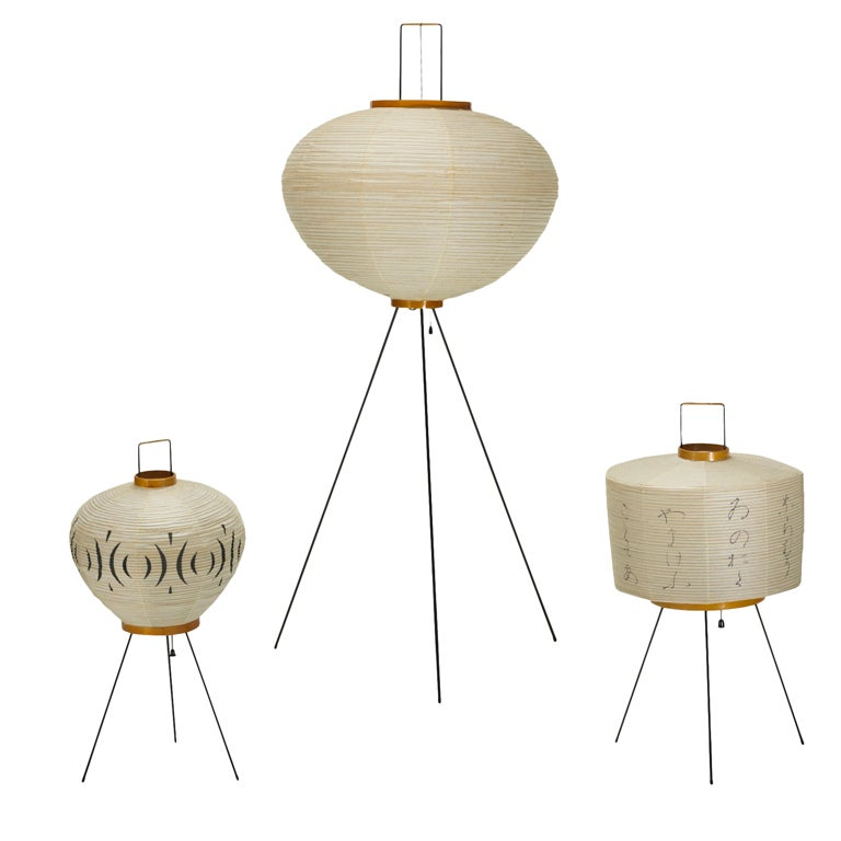 Akari light sculptures models 3a 6a and 10a by isamu for Noguchi lighting