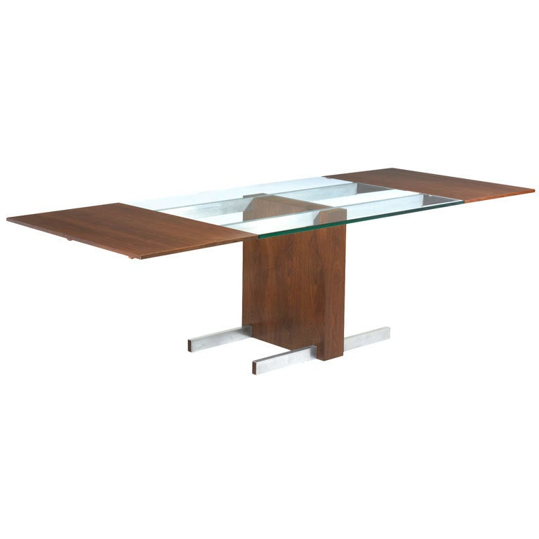 Glass top extension dining table model 6705 by vladimir kagan - Extension dining tables small spaces model ...