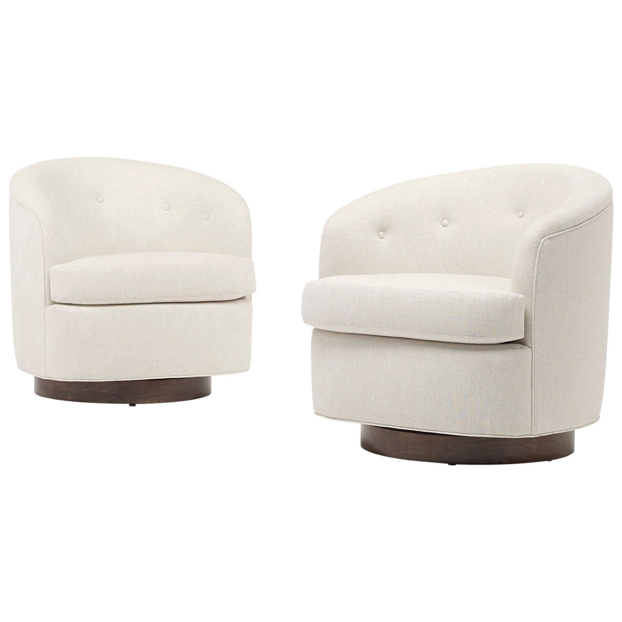 Modern swivel lounge chairs pair at 1stdibs for Modern swivel chair