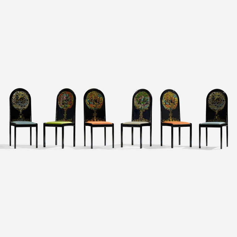 These chairs come from the edition of 300. Signed and numbered to backrest of each example: [Bjørn Wiinblad].