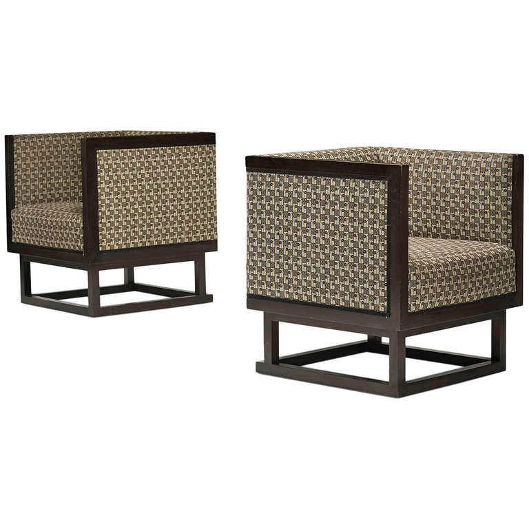Cabinett Lounge Chairs Pair By Josef Hoffmann For Wittmann