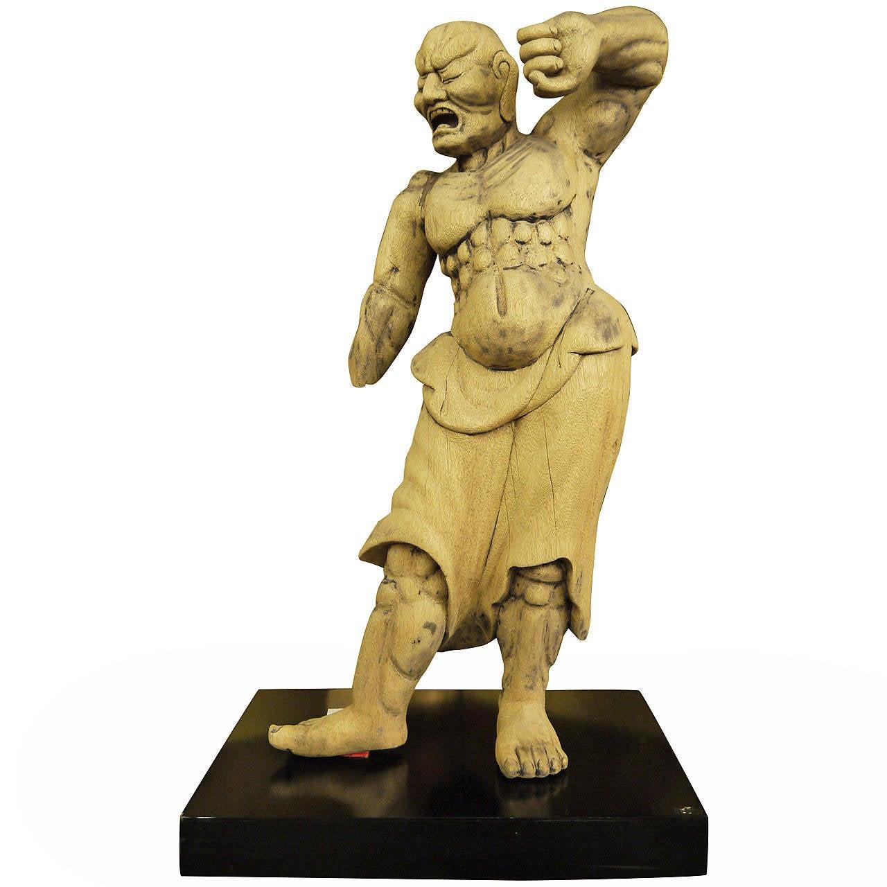 Wooden Japanese 18th Century Nio Guardian Figure 1